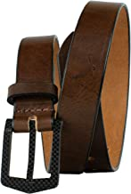 Stealth Brown Belt - Full Grain Leather USA Made Beep Free TSA Friendly Non Metal Certified Nickel Free Buckle