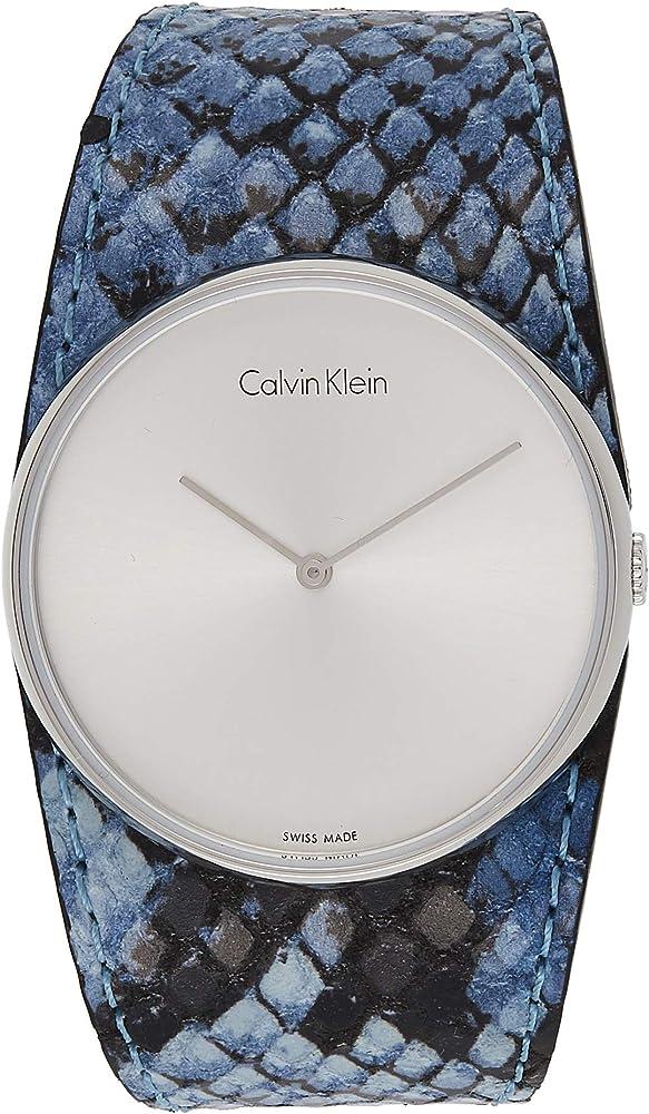 Calvin klein,orologio analogico al quarzo per donna, con cinturino in pelle e cassa in acciaio inossidabile K5V231V6