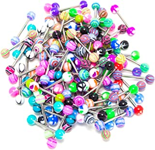 ROSENICE 20pcs Colorful Women Tongue Ring Bar Stud (Random Color)