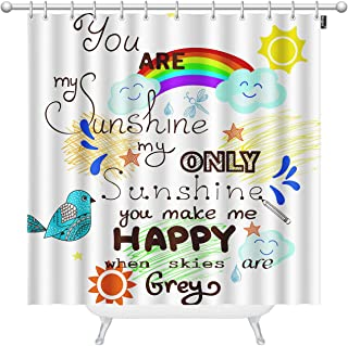 Mugod Beautiful Greeting Card Shower Curtains You are My Sunshine with Bird Cloud Rainbow and Sun Decorative Bathroom Waterproof Fabric Shower Curtain with 12 Hooks 72 x 72 Inches