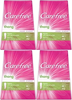 Carefree Thong Pantiliners, Regular Protection, Unscented, 196 Pantiliners (4 X 49 Count Boxes)