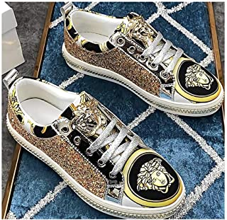 Fashion Sequins Trendy Printed Casual Shoes Peculiar Individuality Non-Slip Wear-Resistant Sneakers Lace Up Breathable Travel Men's Shoes Lightweight Outdoor Sports,Gold,39EU