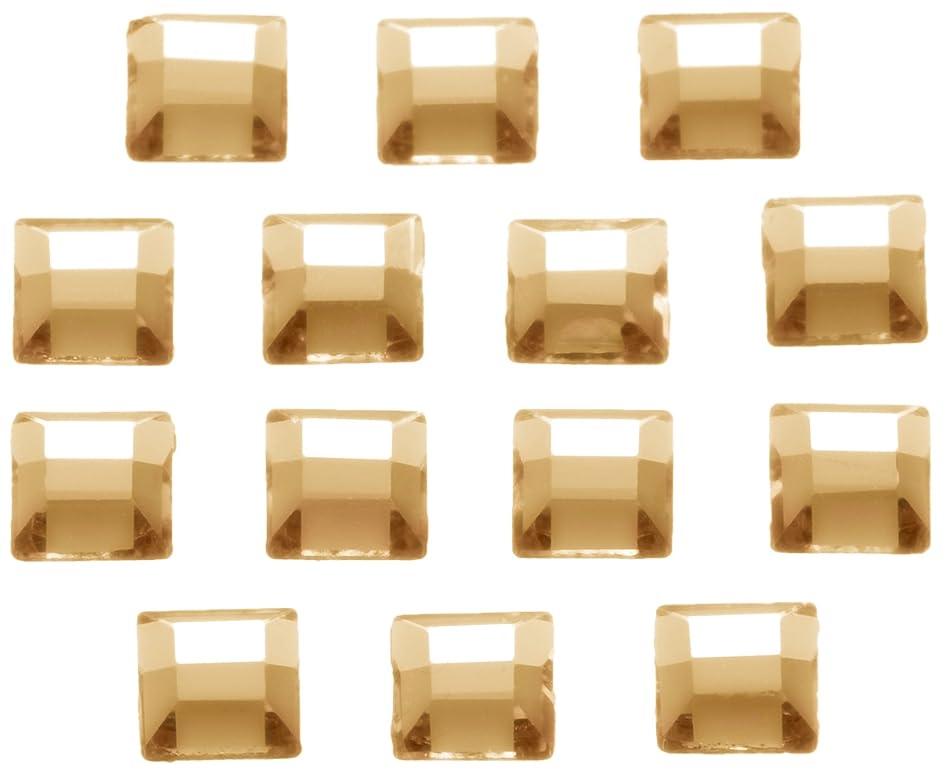 論理語オフネイルアートパーツ スクエア型クリスタルゴールデンシャドウ 3.0mm 36P