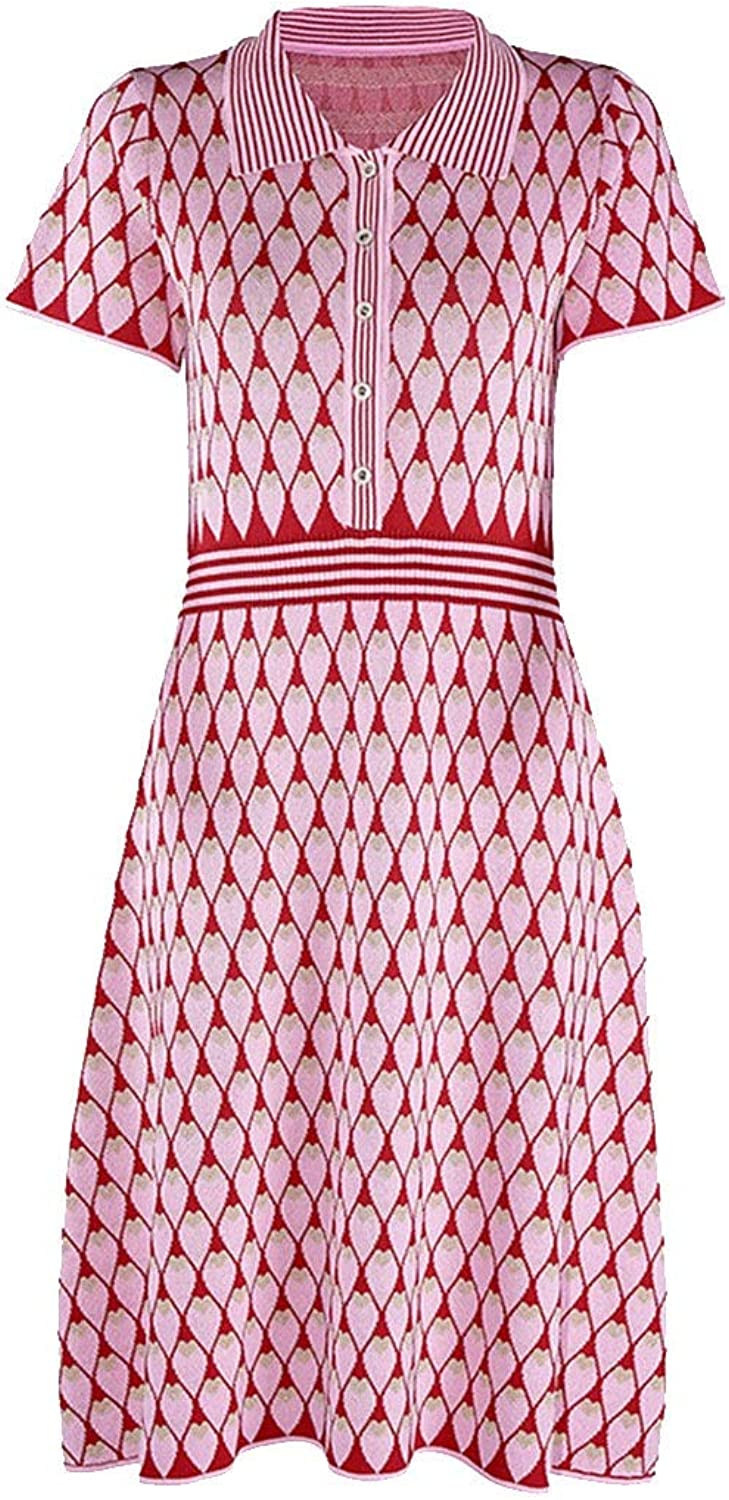 Europe and The United States Slim Ice Silk Knit Lapel Dress Female Cotton Print Dress Dress Red SXL (color   Red, Size   XL)