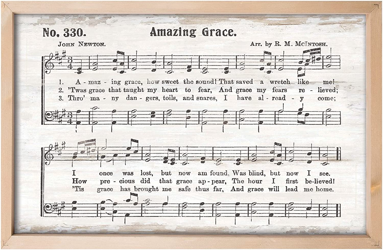 P. Graham Dunn Amazing Grace Rustic Sheet Music 24.5 x 16 Inch Pine Wood Framed Art Wall Plaque