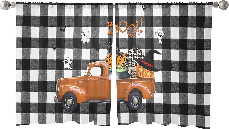 Sheer Window Curtain Panels Max 51% OFF Happy Skeleton Pumpkin Far Max 60% OFF Halloween
