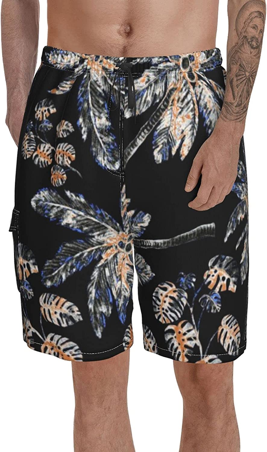 Printed Swimming Trunks for Men Beach Shorts Watercolor Palms Modern Elastic Waist Bathing Suits for Summer