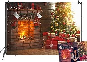 GYA 8x6ft Christmas Tree Stove Sock Fireplace Gift Blanket Photograhy Backdrop Santa Reindeer Garland Christmas Ball Xmas Party Background
