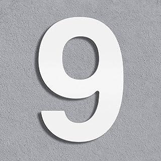 Thorwa® Design roestvrij staal huisnummer, wit gecoat, incl. montagemateriaal/H: 160 mm/RAL 9003 / weerbestendig (9)