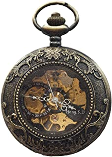 XMhbzy Mechanical Pocket Watch Steampunk Dial for Men Women Antique Bronze Roman Numerals
