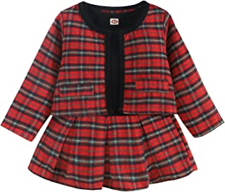 Chollius Toddler Kids Baby Girl Pageant Plaid Long Sleeve Jacket Coat & Patchwork Tutu Skirt Dress Party Outfits Spring an...