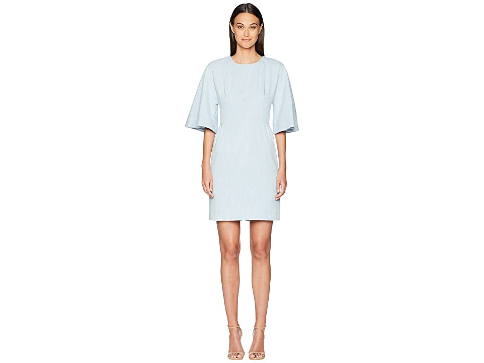 Image of Adam Lippes Corded Denim Sculpted Mini Dress (Light Indigo) Women's Dress