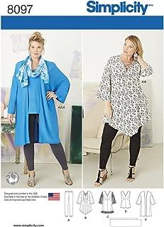 Simplicity 8097 Women's Plus Size Tunic, Top, Leggings, and Kimono Sewing Pattern, Sizes 26W-32W
