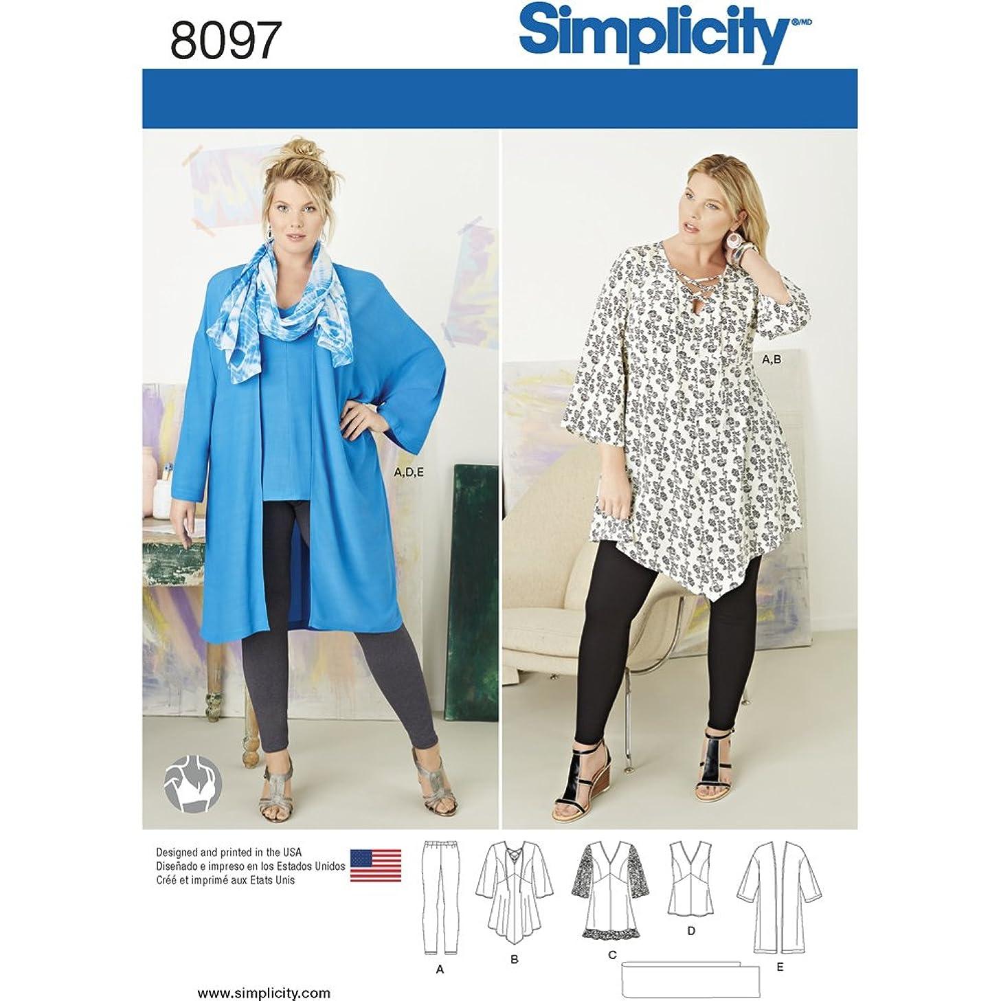 Simplicity Creative Patterns US8097GG Plus Size Tunic, Top, Kimono and Knit Leggings, Size GG (26W-28W-30W-32W) cqoggn1515908