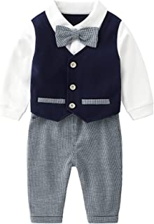Newborn Infant Clothing Sets, Long Sleeve White Onesies+Pants+Bow Tie+Suspenders,Baby Boys Gentleman Outfits Suits