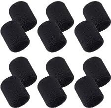 Aipaide 12 stuks absorberende zweetbanden voor dames en heren, zwart, katoen, polsbanden voor sport, basketbal, hardlopen,...
