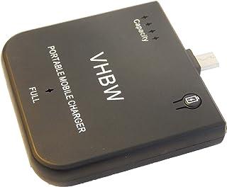 vhbw Powerbank mobilladdare laddkabel micro USB batteri 1900 mAh passar för Sony Reader PRS-650, Walkman NEW-B172, NWZ-B17...