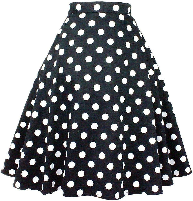 Hemet Women's Polka Dots Circle Skirt Black