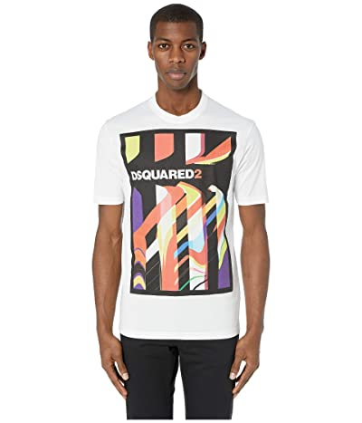 DSQUARED2 Abstract Stud Fit T-Shirt (White) Men