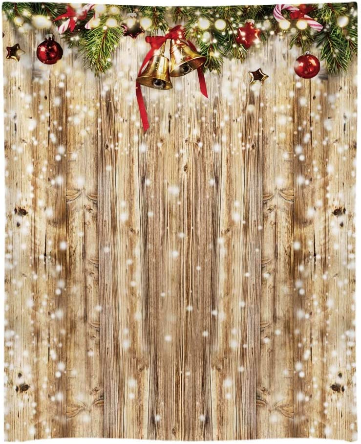 Funnytree 6x8ft Durable Rustic Christmas Wood Floor Photography Backdrop No Wrinkles Wooden Wall Glitter Bokeh Snow Winter Merry Xmas Party Background Portrait Banner Decoration Photo Booth Studio