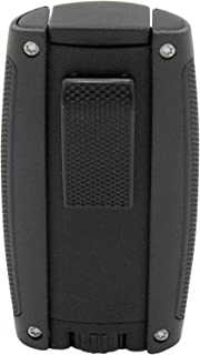 Turismo Double Flame Cigar Lighter in an Attractive Gift Box Lifetime Warranty Matte Black
