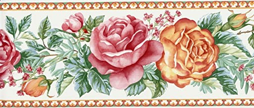 Wallpaper Border Country French Floral Red, Orange & Green on White
