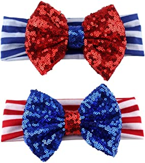CheeseandU 2Pcs 4th of July Headband for Girls American Flag Striped Elastic Hair Band Kids Patriotic Big Sequin Bow Headbands 2019 Independence Day Hair Accessories,Red&Blue