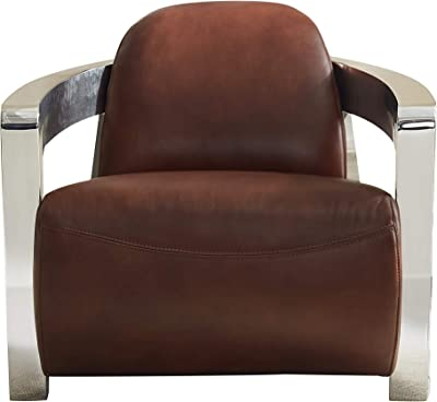 Sunset Trading Milan Aviator Chair with Chrome Arms, Deep Seating, Brown
