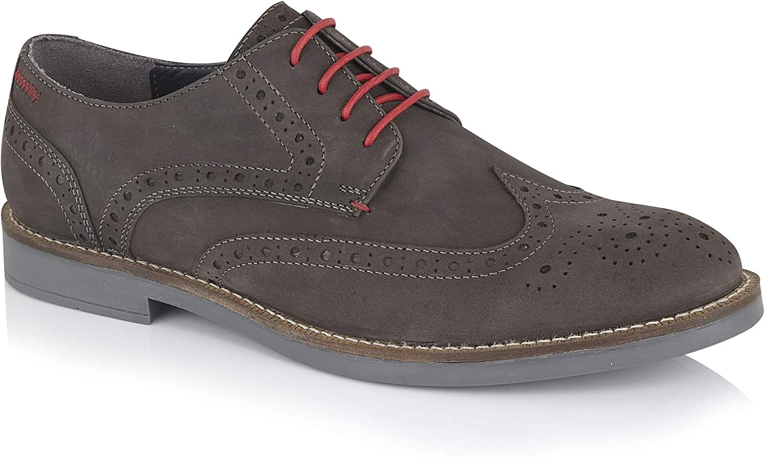 Silver Street Kipling Mens Casual Leather Grey Lace up Durable Brogue Derby Gibson shoes in Sizes 7-12