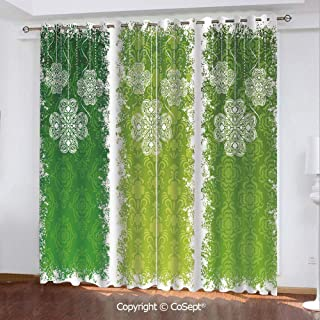 Solid Polyester Window Curtain,Aged Vintage Antique Figures on Green Toned Color Bands Celtic Historic Lace Image Decorative,for Living Room,Set of 2 Curtain Panels,51.96x96.45 Inch,Multicolor