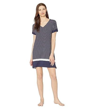 Donna Karan Modal Spandex Jersey Sleepshirt (Ink Stripe) Women