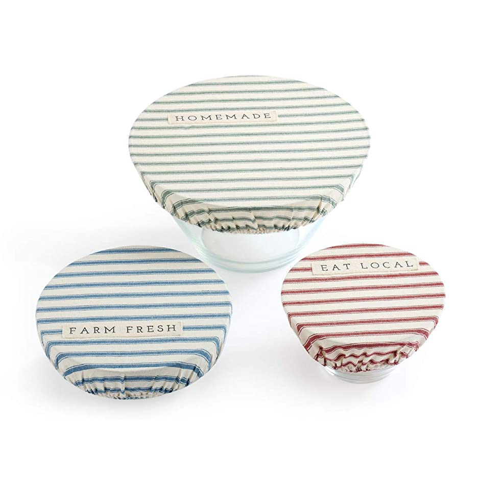Homemade Stripe 11 x 11 Cotton Linen Fabric Plate Serving Dish Covers Set of 3