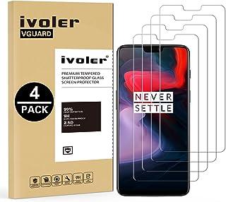 ivoler [4 Unidades] Protector de Pantalla para Oneplus 6, Cristal Vidrio Templado Premium
