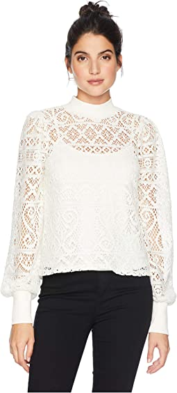 Mock Neck Cropped Lace Top