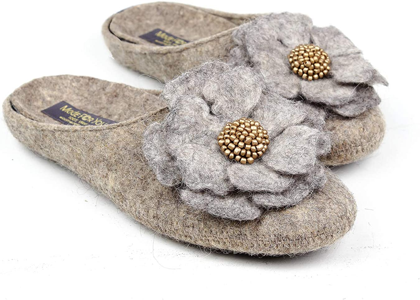 Made For You Women's Wool Slippers with Handmade Flower, Lightweight with Arch Support Insoles and Non-Slip Rubber
