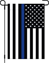 tibijoy 12x18 Inch Thin Blue Line USA Garden Flag,Double Sided Black White Blue American Garden Flag Yard Decoration,Black White and Blue American Police Flag Honoring Law Enforcement Officers