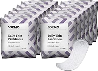 Amazon Brand - Solimo Thin Pantiliners, Regular Length, Unscented, 240 Count (12 packs of 20)