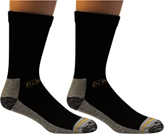 DEWALT Men's 2 Pack Cushion Comfort Non Binding Basic Cotton Crew Socks