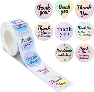 500 PCS Laser Thank You Stickers Roll, 1.5 Inches Thank You Labels Round Stickers for Gift Boxes, Shopping Bags, Greeting ...