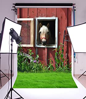 Laeacco 3x5ft Vinyl Thin Photography Backgrounds Rustic Rural Horse Stable House and Cowboy Scene Green Grassland Small Fancy Window Wall Backdrop Children Kids Photo Backdrop Studio Props