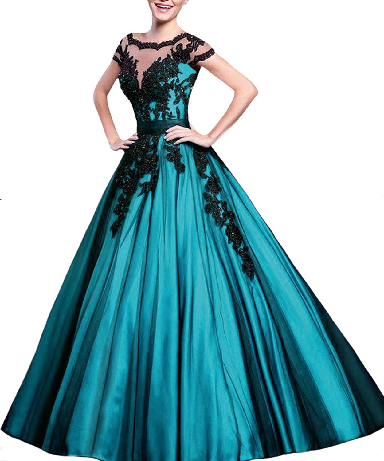 JQLD Women's Sexy Illusion High Neck Ball Gown Prom Dresses Black Applique Quinceanera Dress