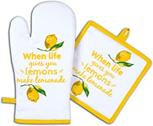 AMOUR INFINI Pot Holders and Oven Mitts, Unique Citrus Splash Design, Heat Resistant, Made of 100% Cotton, Eco-Friendly & Safe, Set of 1 Oven Mitt and 1 Pot Holder, Pot Holders and Oven Mitts Sets