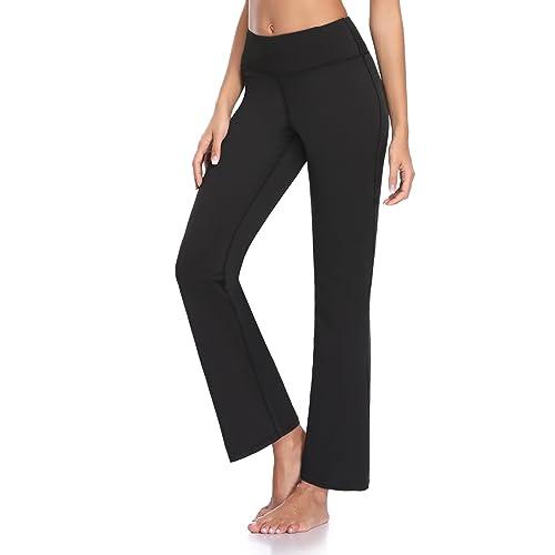 f13e069e0802f GUGUYeah Women's Workout Bootleg Yoga Pants Bootcut Leggings Active Wear  with Hidden Pockets Black