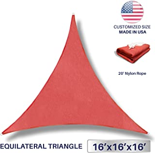 Windscreen4less 16' x 16' x 16' Sun Shade Sail Canopy in Rust Red with Commercial Grade (3 Year Warranty) Customized Sizes Available