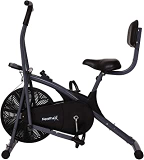 Healthex Exercise Stamina Bike with Back Support for Weight Loss at Home with Stationary Handles Cardio Machine