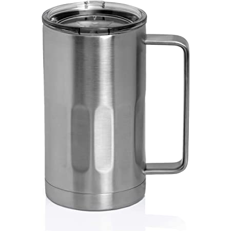 Amazon Com Stainless Steel Beer Mug With Lid 20 Ounce Double Walled Vacuum Insulated Beer Mug By Maxam Shatterproof And Spill Resistant 1 Beer Mugs Steins