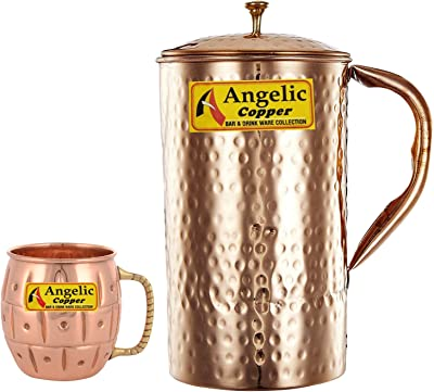 Angelic Copper Handmade Copper Jug with Designer Cup, Brown