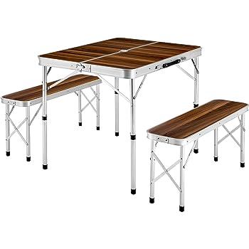 TecTake Ensemble Table Pliante Valise avec 2 bancs Portable Aluminium | Dimensions replié (LxlxH) 91x10x34 cm