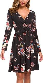 Women's Floral Fall Long Sleeve Casual Swing Tunic T Shirt Wrap Dress