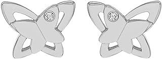 Tuscany 纯银镀铑 0.02 克拉钻石缎面抛光双蝴蝶耳钉耳环